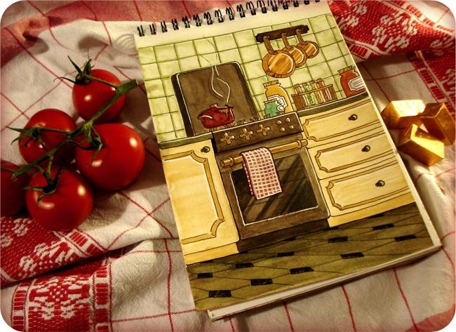 aquarelle cuisine rustique mise en scène