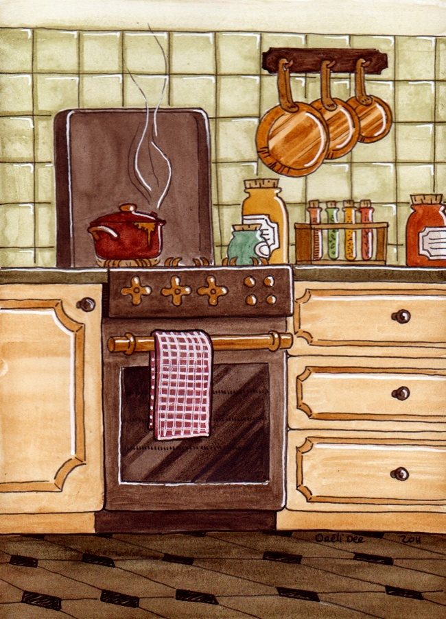 aquarelle cuisine rustique
