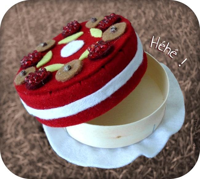 boite gâteau aux framboises en feutrine