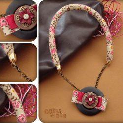 collier et pendentif ruban liberty rose et brun