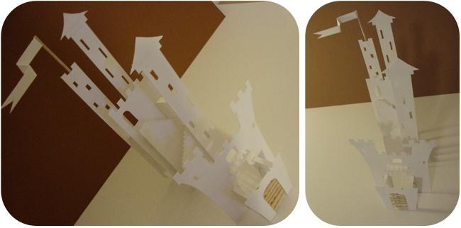 vue du montage du château en papier