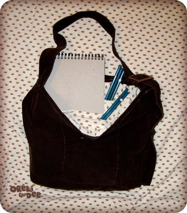 veste velours marron recyclée en sac à main poches intérieures