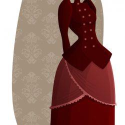 jeune femme en costume 19ème siècle, jupon rose