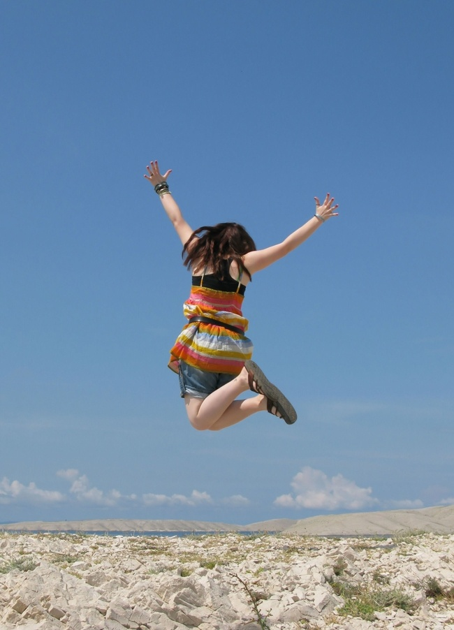 sanja gjenero joyful jumping girl