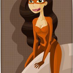 La brune mystère - Illustration - Fille sexy