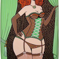 Rousse plantureuse dans son corset à petits pois