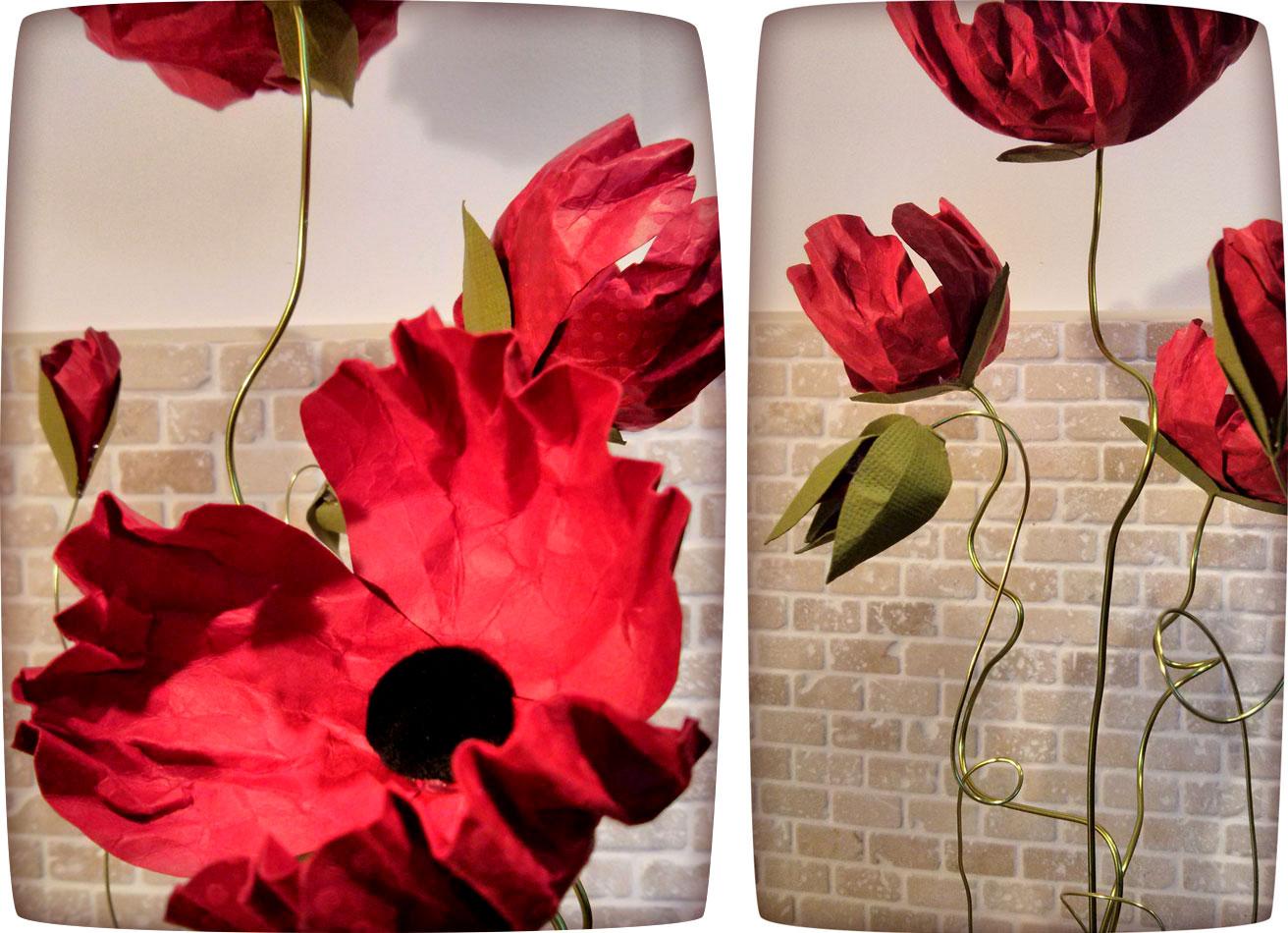 Bouquet de coquelicots en papier et fil d'aluminium