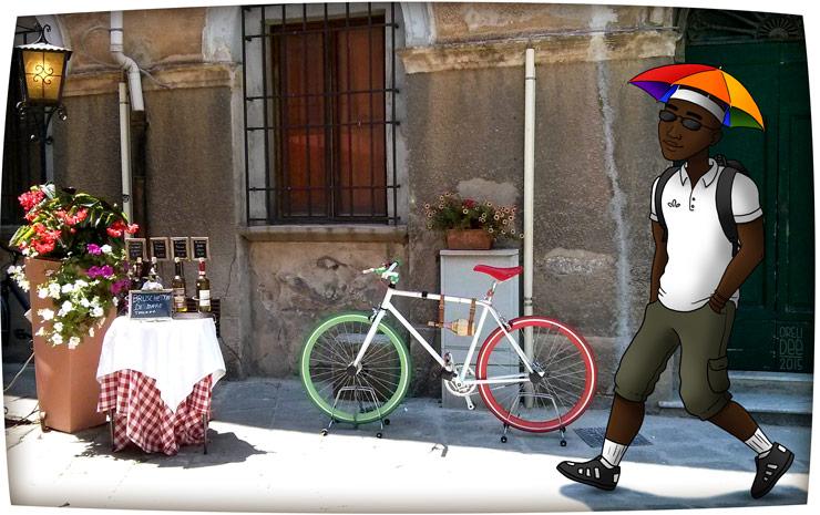 Touriste à chapeau ombrelle