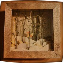Renard en boite - cadre 3D sous-bois