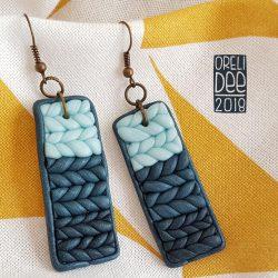 Boucles d'oreilles - Knit bleu