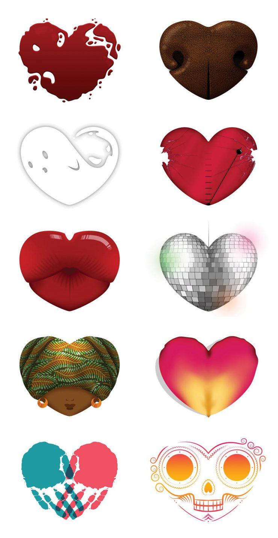 JU - série de cœurs pour flyers