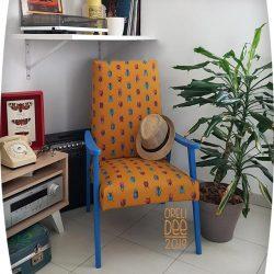 fauteuil scandinave jaune bleu tissus coléoptère décor