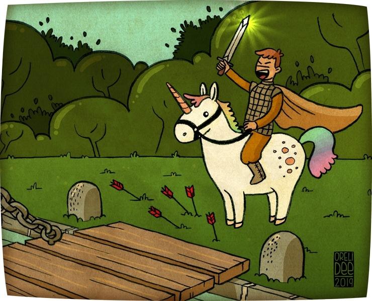 chevalier montant une licorne