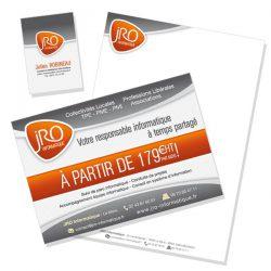 Carte de visite, papier entête et encart JRO Informatique